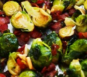 Roasted Brussels Sprouts with Almonds and Bacon