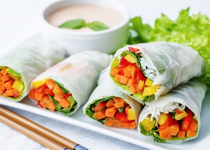 Thai Spring Rolls with Almond Dipping Sauce